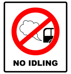 No idling or idle reduction sign on white vector