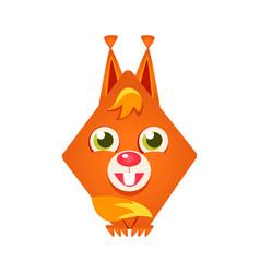 Cute geometric red squirrel colorful cartoon vector