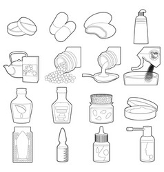 Drug types icons set outline style vector