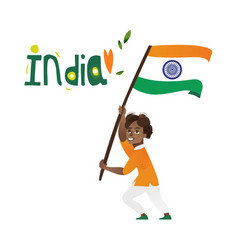 Indian boy kid teenager holding national flag vector