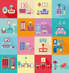 Colorful interior icons set in flat style vector
