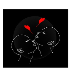 Two people blowing a kiss with red heart vector