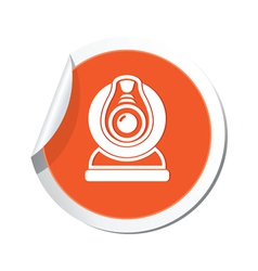 Web camera orange label vector