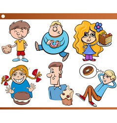 kids and sweets set cartoon vector image