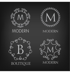 Set of luxury simple and elegant monogram designs vector image