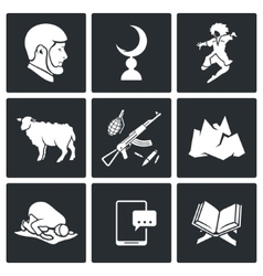 Islam in chechnya icons set vector
