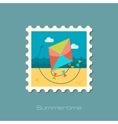 Kite flat stamp vector