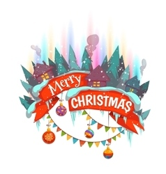 Merry Christmas banner withhouses and Northern vector image
