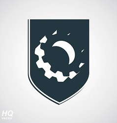 3d graphic gear symbol on a shield vector