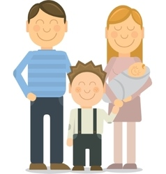 Happy family portrait gesturing with vector