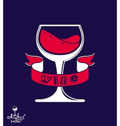 Stylized classic goblet with splash and red vector