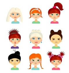 Avatar set with womens of different ethnicity vector
