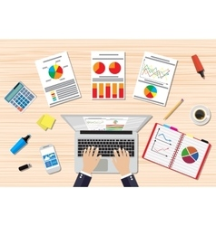 Businessman workplace wooden desk vector