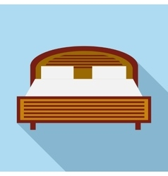 Wood double bed icon in flat style vector