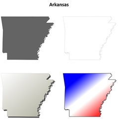 Arkansas outline map set vector image vector image