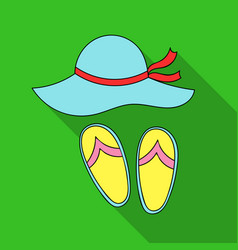 Beach hat with flip-flops icon in flat style vector