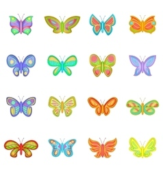 Butterfly fairy icons set cartoon style vector