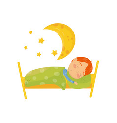 cartoon character of red-haired boy sleeping in vector image