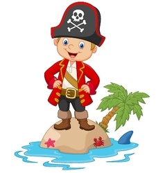 Cartoon little boy up on the island vector image