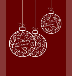 Christmas balls with white text vector