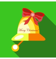 Christmas bell icon flat style vector