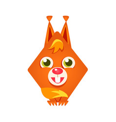 cute geometric red squirrel colorful cartoon vector image