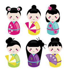 Cute kawaii kokeshi set traditional japanese vector