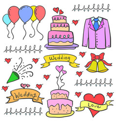 Doodle of wedding object art vector