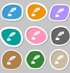 Feather Retro pen icon symbols Multicolored paper vector image