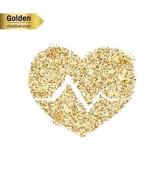 Gold glitter icon of cardiogram isolated on vector