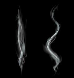 Gray smoke isolated on black background vector image vector image