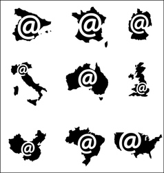 Internet sign countries vector