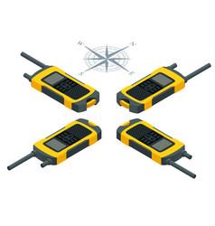 Isometric tourist navigator gps application flat vector