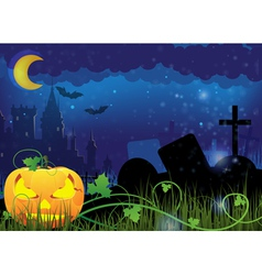 Jack o lantern and ancient castle vector image vector image