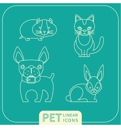 Linear icons of pets vector