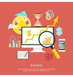Magnifying glass focusing on point vector image vector image