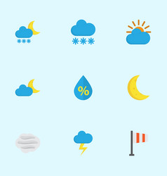 meteorology flat icons set collection of windy vector image vector image