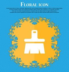 Paint brush artist floral flat design on a blue vector