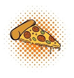 Pizza slice comics icon vector