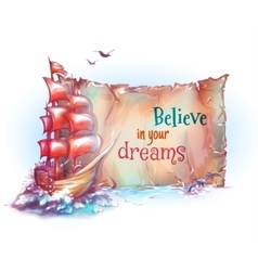 sail ship in ocean with vector image vector image
