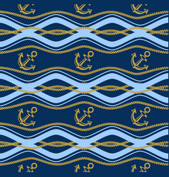 seamless pattern with ropes and waves ongoing vector image vector image