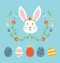 Set collection of easter eggs and rabbit vector