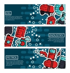 Set of horizontal banners about oil industry vector