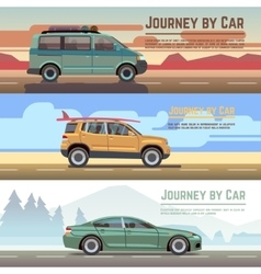 Trailering by car banners set vector image vector image