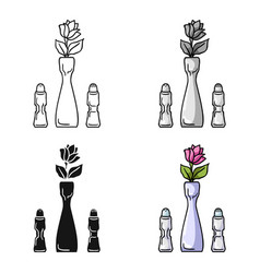 Vase with flower icon in cartoon style isolated on vector