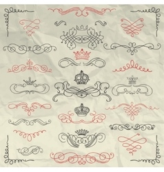 Vintage hand drawn swirls and crowns on crumpled vector