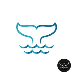 Whale tale logo with ocean waves blue flat colors vector