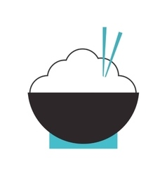 Rice bowl with chopsticks icon vector