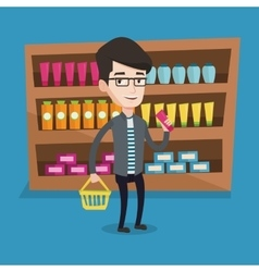 Customer with shopping basket and tube of cream vector