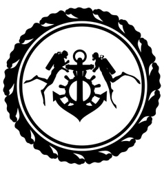 Scuba divers and anchor vector image